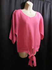 WinterSun Pink 100% Linen Blouse Waist Ties Slit Sleeve Seams S Small