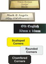 Engraved aluminium Plaque/Plate- Custom size corner font options-self adhesive