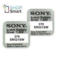 2 SONY 379  SR521SW BATTERIES SILVER OXIDE 1.55V WATCH BATTERY EXP 2021 NEW