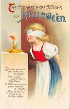 Signed Clapsaddle u. 1914 Halloween, Blindfolded Girl Blowing Out Candle, #1667