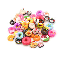 10x DIY Phone Case Decor Craft Miniature Resin Doughnut Dollhouse Food Supply cv
