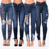 Women High Waisted Stretchy Skinny Denim Jeans Slim Jeggings Ripped Pencil Pants