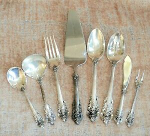 WALLACE GRANDE BAROQUE 8 Pc STERLING Silver SERVING PIECES 17oz Heavy & Old