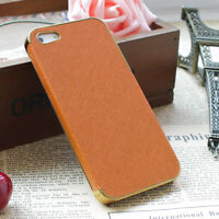 New Frame Luxury Leather Chrome Hard Back Case Cover For Apple iPhone 5 5s 5G