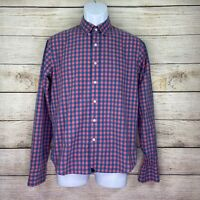 UNTUCKit Mens Size Small Red n Blue Slim Fit Long Sleeve Button Up Plaid Shirt
