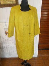 Tailleur robe sans manche veste blazer lin jaune UN JOUR AILLEURS 42 14UK 46I/RU