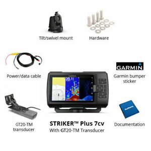 NEW Garmin Striker Plus 7CV Fish Finder with GT20-TM Transducer 010-01873-00 NEW