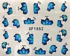 Accessoire ongles nail art , Stickers décalcomanie , motifs feuilles bleues
