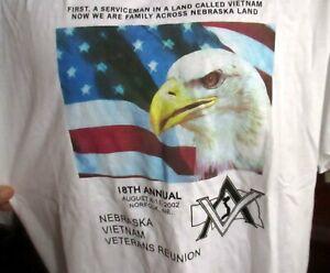 2002 Vtg XL NEW NEBRASKA VIETNAM VETERANS REUINION GRAPHIC T-shirt POW MIA