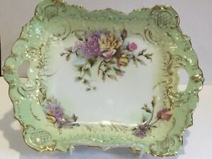Antique Dresden Germany Porcelain High Relief Tray w/ Hand Painted Flowers, mark