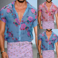 Men's Mesh See-through Top Short Sleeve Shirts Party Clubwear T-shirt Blouse Tee
