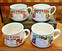 Vintage In Original Box Recipe Soup Bowls Mugs Cups - Lot of Four (4)