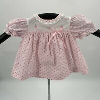 Vintage Baby Girl Dress Size 6-9 Mos. Pink Rosettes Puff Sleeves