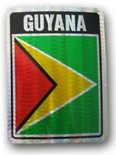 Wholesale Lot 6 Guyana Country Flag Reflective Decal Bumper Sticker