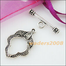6 New Connectors Necklace Leaf Circle Toggle Clasps Tibetan Silver