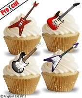 PRE-CUT ELEC GUITAR EDIBLE WAFER PAPER CUP CAKE TOPPERS PARTY DECORATIONS