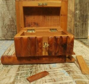 HANDMADE THUYA WOOD SECRET LOCK JEWELLERY BOX FROM MOROCCO FAIR TRADE