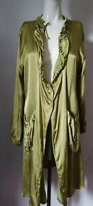 MASAI loose coat/jacket, size large, olive green satiny fabric, long sleeves