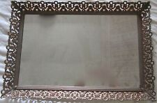"1950s Gold Finish Filigree Mirrored Vanity Tray Velvet Base 16"" x 11"""