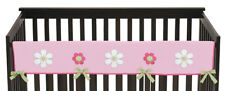 Jojo Pink Green Flower Front Rail Guard Crib Cover Baby Teething Protector Wrap