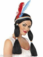 Adult Ladies Black Indian Princess Pocahontas Fairy Tale Fancy Dress Costume Wig