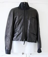 Emporio Armani Mens Black Leather Jacket Funnel neck L IT 50 UK 40 LOVELY Cond!