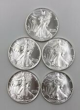 1992 AMERICAN SILVER EAGLE LOT OF 5  COINS  GEM-CHBU