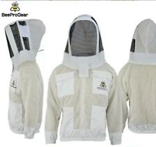 Unisex 3Layer Ventilated White Mesh Bee Jacket Astronaut Fencing Veil/Hood. 4XL