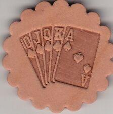 Royal Flush leather stamp. Delrin laser engraved clicker stamp