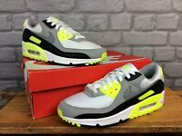 NIKE MENS UK 7 EU AIR MAX 90 OG VOLT GREY BLACK WHITE TRAINERS RRP £115  EP