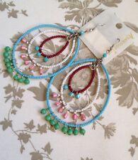 Accessorize Monsoon Earrings Turquoise Pink Green Beaded Bohemian Ethnic Boho