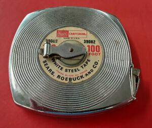 Vintage Sears Craftsman 100 ft. Steel Reel Measuring Tape - Metal Case 39082 USA