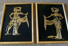 VINTAGE Pair of Hand-Crafted ASIAN STRAW ART  Bamboo Framed Dancers