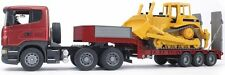 Bruder Toys SCANIA R-series Low loader Truck w/ CAT Bulldozer 03556 Kids Play