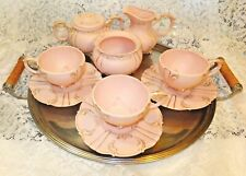 1960 Handmade Country French 10 Piece Pink Tea Set Signed