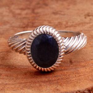 Blue Sapphire Oval Gemstone 925 sterling Silver Jewelry women Ring Size US 7.5