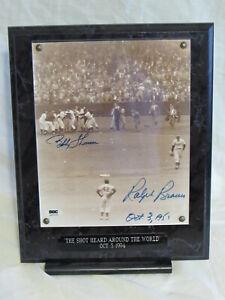 Ralph Branca & Bobby Thomson Shot/World Autograph Photo Plaque SGC Authentic