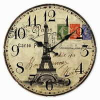Retro Style French Paris Eiffel Tower Stamp Home Decorative Wall Clock Wood 34CM