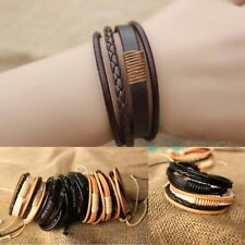 Cool Leather Bracelet Black Men Boys Wristband Bangle Charm Jewelry Gifts Chain