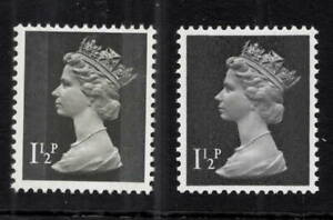 X848a. 1 1/2d black Machin (two band). Uncoated paper. Unmounted mint. Cat £130.