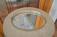 Vintage Color Gold  Jewelry & perfume Filigree Vanity Set Oval Tray with Mirror