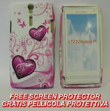 Pellicola+Custodia cover case 2 CUORI VIOLA per Sony Xperia S Arc HD LT26I