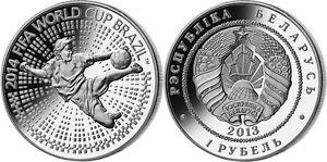 "Belarus 1 rouble 2013 ""FIFA Football World Cup 2014 - Brazil"" Cu-Ni PROOF-LIKE"