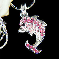Beach Wedding w Swarovski Crystal Pink DOLPHIN Charm Bridal Pendant Necklace new