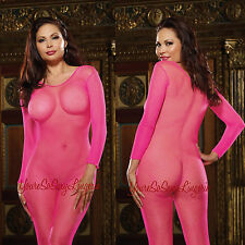 PLUS Size FISHNET BODYSTOCKING Neon Pink CROTCHLESS LONG SLEEVE fits 175-275 lbs