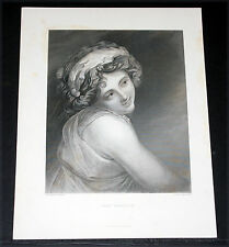 "1880 BRITISH ART PRINT-STEEL ENGRAVING, ""LADY HAMILTON"" BY G. ROMNEY!"