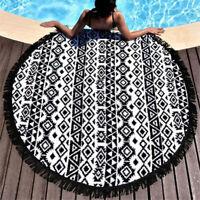 150cm Round Bohemian Summer Beach Tapestry Towel Black Tassels Blanket Throw  t