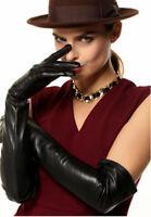 women fashion real sheep leather opera long evening long gloves black