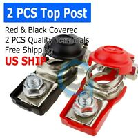 2 Car Boat Battery Terminal Connector Top Positive Negative Heavy Duty Universal