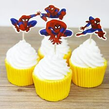 24 Pcs, Spiderman Cupcake Toppers Kids Birthday Party Supplies.